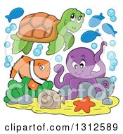 Clipart Of A Cartoon Sea Turtle Anenome Fish And Octopus Royalty Free Vector Illustration by visekart