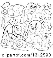 Clipart Of A Cartoon Black And White Sea Turtle Anenome Fish And Octopus Royalty Free Vector Illustration by visekart