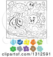 Clipart Of A Color By Number Sea Turtle Fish And Octopus Royalty Free Vector Illustration by visekart