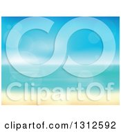 Clipart Of A Tropical Beach With White Sands And The Horizon Over The Ocean With Blur And Flares Royalty Free Vector Illustration