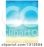 Clipart Of A Tropical Beach With White Sands And The Horizon Over The Ocean With Blur And Sun Flares Royalty Free Vector Illustration by visekart