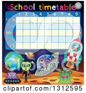 Clipart Of A School Time Table With Aliens Royalty Free Vector Illustration by visekart