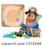 Clipart Of A Cartoon Pirate Captain With A Parrot Leaning Against A Treasure Chest And Presenting A Blank Scroll With His Hook Hand On An Island Royalty Free Vector Illustration