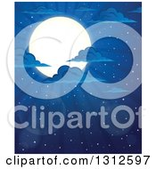 Clipart Of A Shining Full Moon Clouds And Flares In A Night Sky Royalty Free Vector Illustration