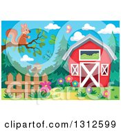 Clipart Of A Squirrel On A Tree Branch Over A Bird On A Fence Garden Butterflies And Barn Royalty Free Vector Illustration by visekart