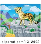 Clipart Of A Cartoon Cheetah On A Bluff Over A Day Landscape Royalty Free Vector Illustration