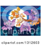 Clipart Of Cartoon Purple Bats At A Branch Over An Evergreen Forest With A Full Moon At Night Royalty Free Vector Illustration