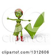 Clipart Of A 3d Green Nature Woman Wearing Leaves And Flowers Giving A Thumb Up And Pointing To A Check Mark Over White With Shading Royalty Free Illustration