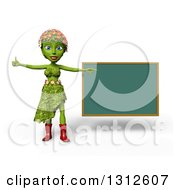 Clipart Of A 3d Green Nature Woman Wearing Leaves And Flowers Giving A Thumb Up And Pointing To A Chalkboard Over White With Shading Royalty Free Illustration