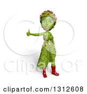 Clipart Of A 3d Green Nature Woman Wearing Leaves And Flowers Giving A Thumb Up Over White With Shading Royalty Free Illustration