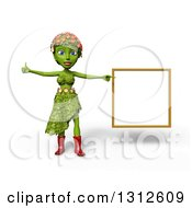 3d Green Nature Woman Wearing Leaves And Flowers Giving A Thumb Up And Pointing To A White Board Over White With Shading