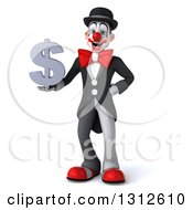 3d White And Black Clown Holding A Dollar Symbol