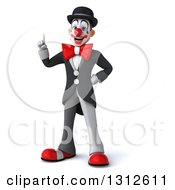 3d White And Black Clown With An Idea