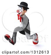 3d White And Black Clown Sprinting To The Left