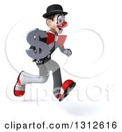 3d White And Black Clown Sprinting To The Right And Holding A Dollar Symbol
