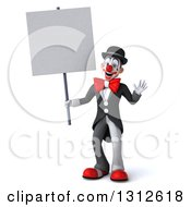 3d White And Black Clown Waving And Holding A Blank Sign
