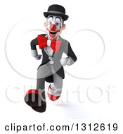 3d White And Black Clown Sprinting