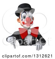 3d White And Black Clown Giving A Thumb Down Over A Sign