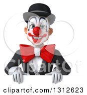 3d White And Black Clown Over A Sign