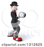 3d White And Black Clown Working Out Facing Right And Doing Bicep Curls With Dumbbells