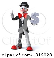 3d White And Black Clown Holding Up A Finger And A Dollar Symbol