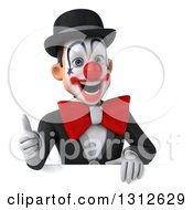 3d White And Black Clown Giving A Thumb Up Over A Sign
