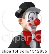 Clipart Of A 3d Avatar Of A White And Black Clown Facing Right 2 Royalty Free Illustration