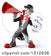 3d White And Black Clown Holding A Dollar Symbol And Using A Megaphone
