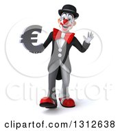3d White And Black Clown Dancing And Holding A Euro Symbol
