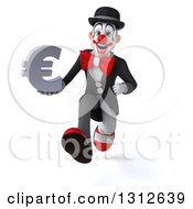 3d White And Black Clown Sprinting And Holding A Euro Symbol