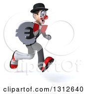 3d White And Black Clown Sprinting To The Right And Holding A Euro Symbol