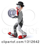 Clipart Of A 3d White And Black Clown Walking To The Left And Holding An Email Arobase At Symbol Royalty Free Illustration