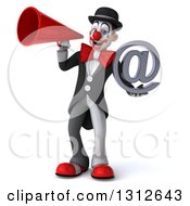 3d White And Black Clown Holding An Email Arobase At Symbol And Using A Megaphone