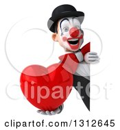 3d White And Black Clown Holding A Red Love Heart Around A Sign
