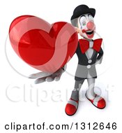 3d White And Black Clown Holding Up A Red Love Heart
