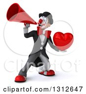 3d White And Black Clown Announcing With A Megaphone And Holding A Love Heart