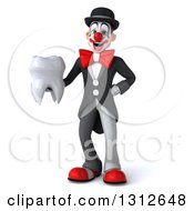 3d White And Black Clown Holding A Tooth