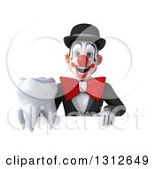 3d White And Black Clown Holding A Tooth Over A Sign