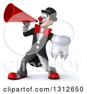 3d White And Black Clown Holding A Tooth And Announcing To The Left With A Megaphone