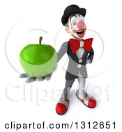 3d White And Black Clown Holding Up A Green Apple