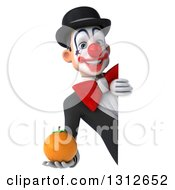 3d White And Black Clown Holding A Navel Orange Around A Sign