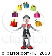 3d White And Black Clown Juggling Gifts