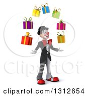 3d White And Black Clown Facing Right And Juggling Gifts