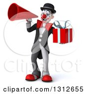 3d White And Black Clown Holding A Gift And Using A Megaphone