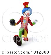 Clipart Of A 3d Clown Character Speed Walking Waving And Holding A Blackberry Royalty Free Illustration