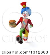 Clipart Of A 3d Clown Character Sprinting And Holding A Double Cheeseburger Royalty Free Illustration