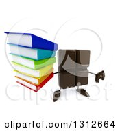 Clipart Of A 3d Chocolate Candy Bar Character Holding Up A Thumb Down And Stack Of Books Royalty Free Illustration by Julos