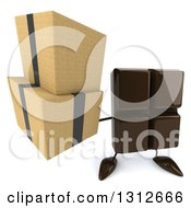 Clipart Of A 3d Chocolate Candy Bar Character Holding Up Boxes Royalty Free Illustration by Julos