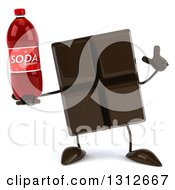Clipart Of A 3d Chocolate Candy Bar Character Holding Up A Finger And A Soda Bottle Royalty Free Illustration by Julos