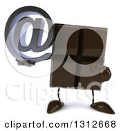 Clipart Of A 3d Chocolate Candy Bar Character Holding And Pointing To An Email Arobase At Symbol Royalty Free Illustration by Julos